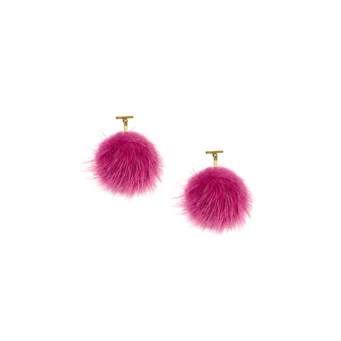 Fuchsia Mink Pom Pom T Stud Earrings, Earrings, Tuleste, Tuleste