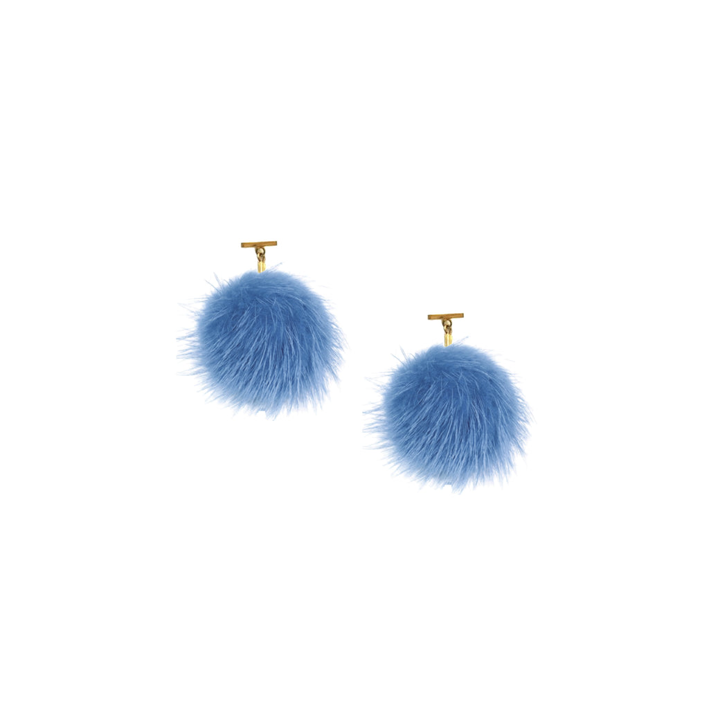 Vista Blue Mink Pom Pom T Stud Earrings
