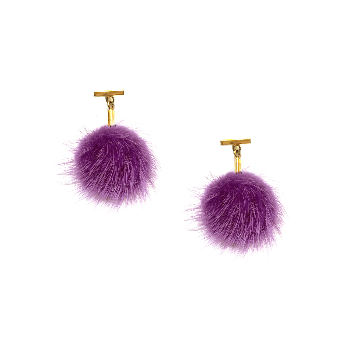 Purple Mini Mink Pom Pom T Stud Earrings, earring, Tuleste, Tuleste