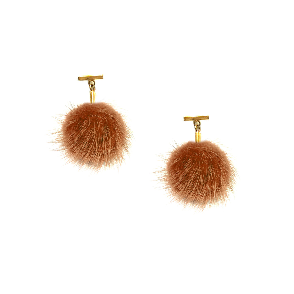 Rust Mini Mink Pom Pom T Stud Earrings