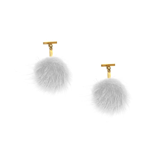 White Mini Mink Pom Pom T Stud Earrings