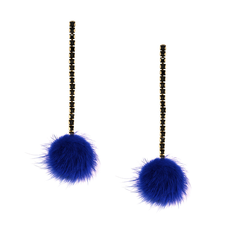 Cobalt Blue Mink Pom Pom and Black Crystal Chain Earrings