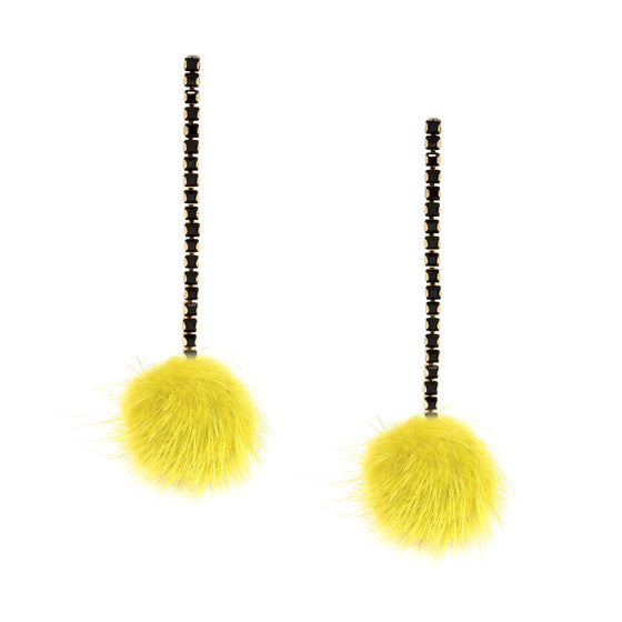 Yellow Mink Pom Pom and Black Crystal Chain Earrings
