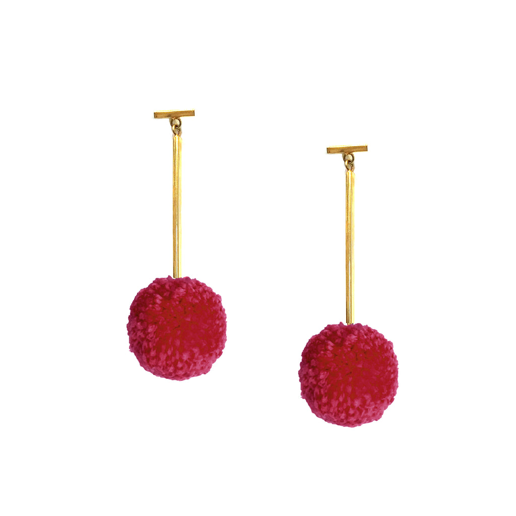 "Cranberry 1"" Yarn Pom Pom T Bar Earrings, Earrings, Tuleste, Tuleste"