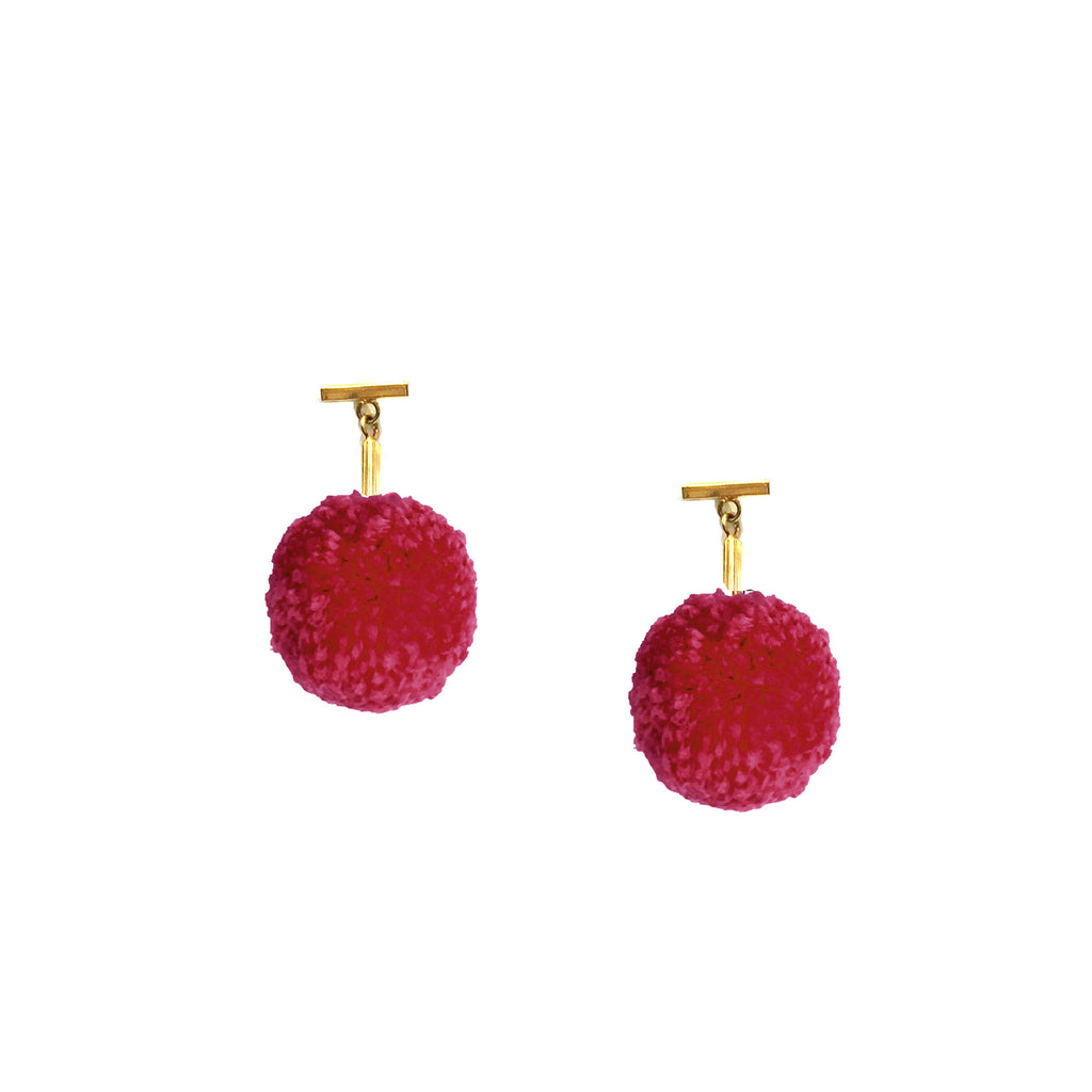 "Cranberry 1"" Yarn Pom Pom T Stud Earrings, earring, Tuleste, Tuleste"