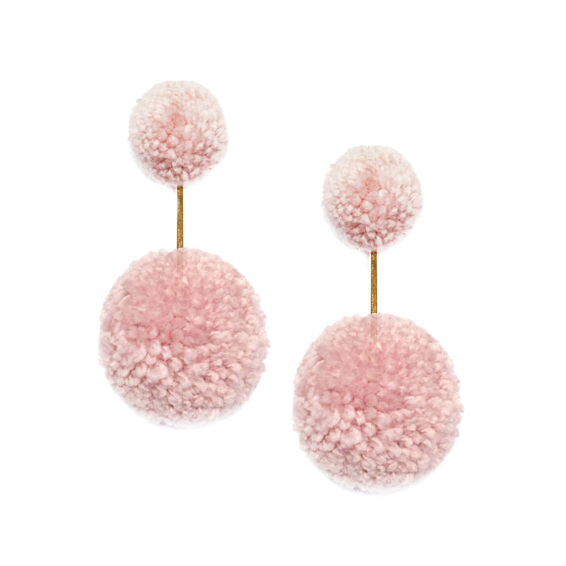 ROSY CHEEKS YARN DOUBLE POM POM EARRINGS