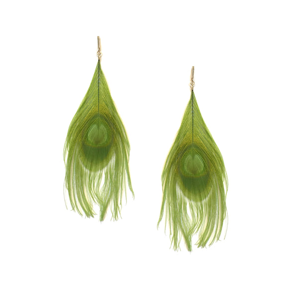 Green Peacock Feather Plume Earrings, Earrings, Tuleste, Tuleste