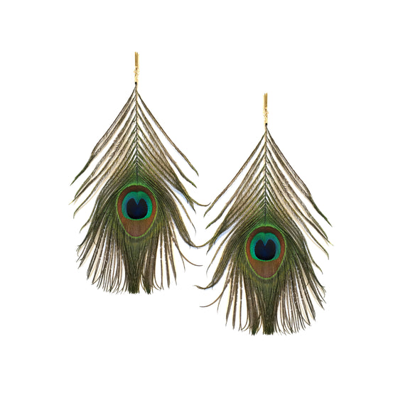 Natural Peacock Feather Plume Earring