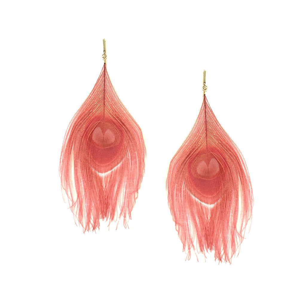 Pink Peacock Feather Plume Earring