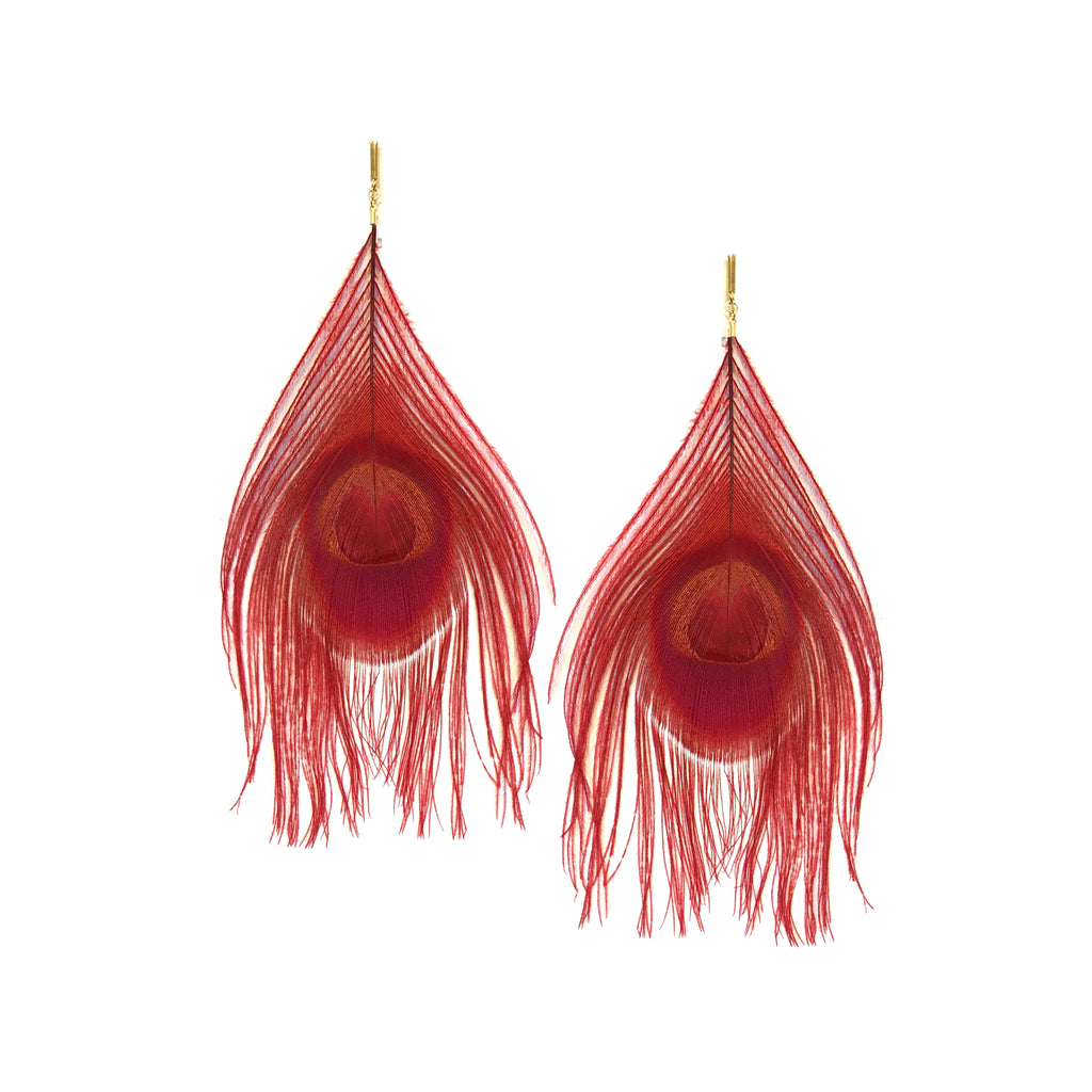 Red Peacock Feather Plume Earring