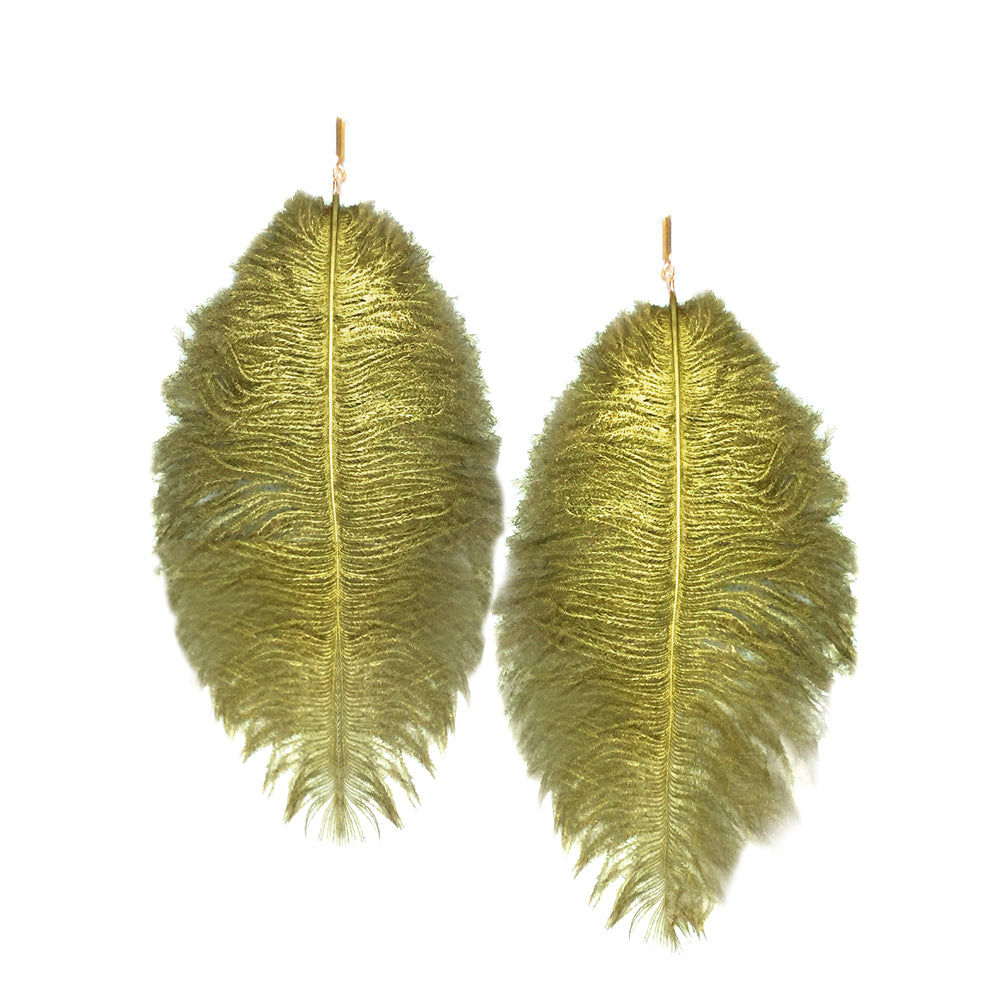 Gold Lacquered Ostrich Plume Earrings