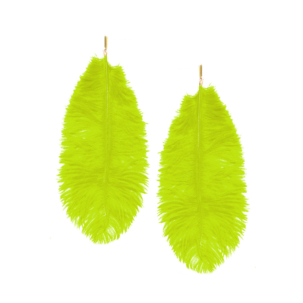 Green Ostrich Feather Plume Earrings, earring, Tuleste, Tuleste