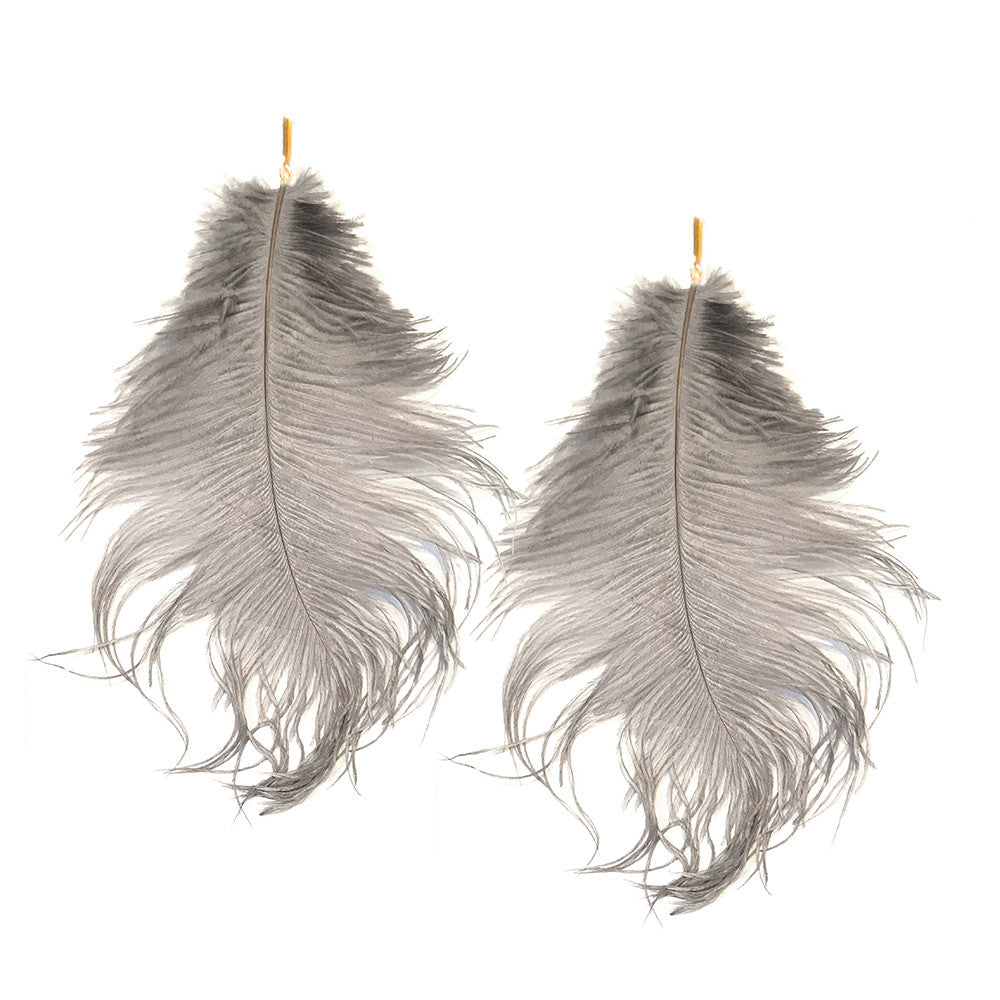 Grey Ostrich Feather Plume Earring