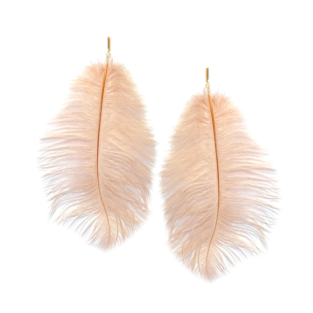 Blush Ostrich Feather Plume Earring