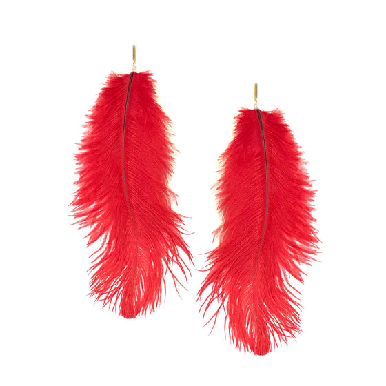 Red Ostrich Feather Plume Earrings, Earrings, Tuleste, Tuleste