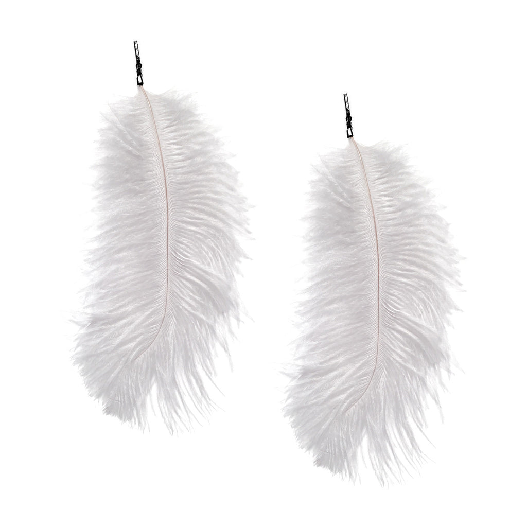 White Ostrich Feather Plume Earring