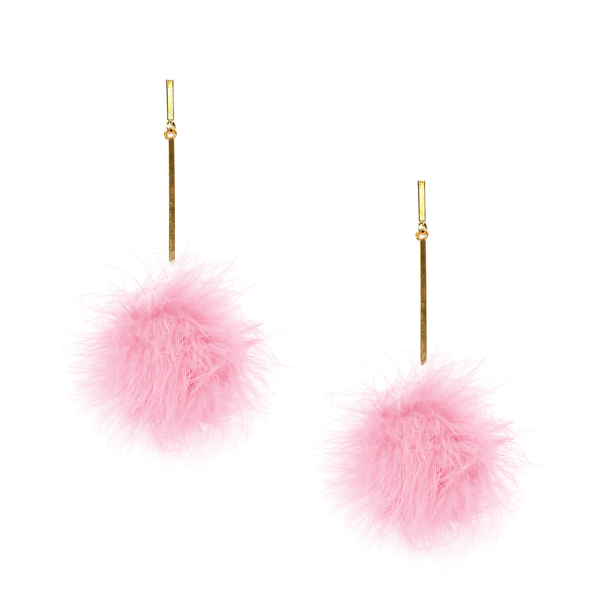 Light Pink Marabou Pom Pom Earrings, Earring, Tuleste, Tuleste