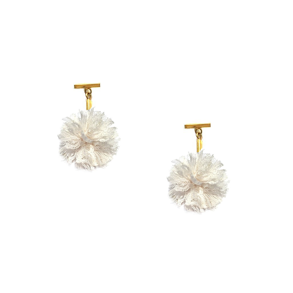 "White 1"" Lace Pom Pom T Stud Earrings, earring, Tuleste, Tuleste"