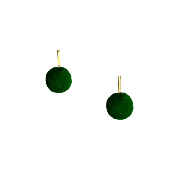 "Green 3/8"" Velvet Pom Pom Stud Earrings, Earrings, Tuleste, Tuleste"