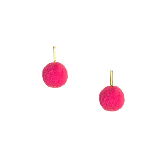 "Hot Pink 3/8"" Velvet Pom Pom Stud Earrings, earring, Tuleste, Tuleste"
