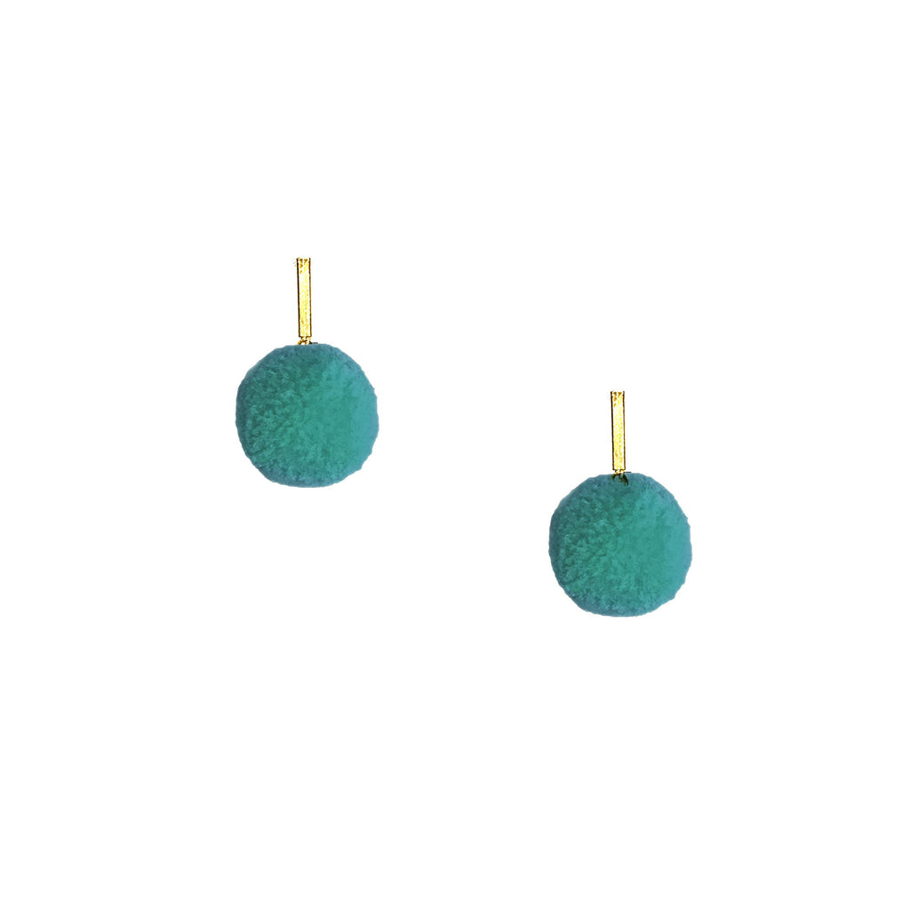 "Turquoise 3/8"" Velvet Pom Pom Stud Earrings"