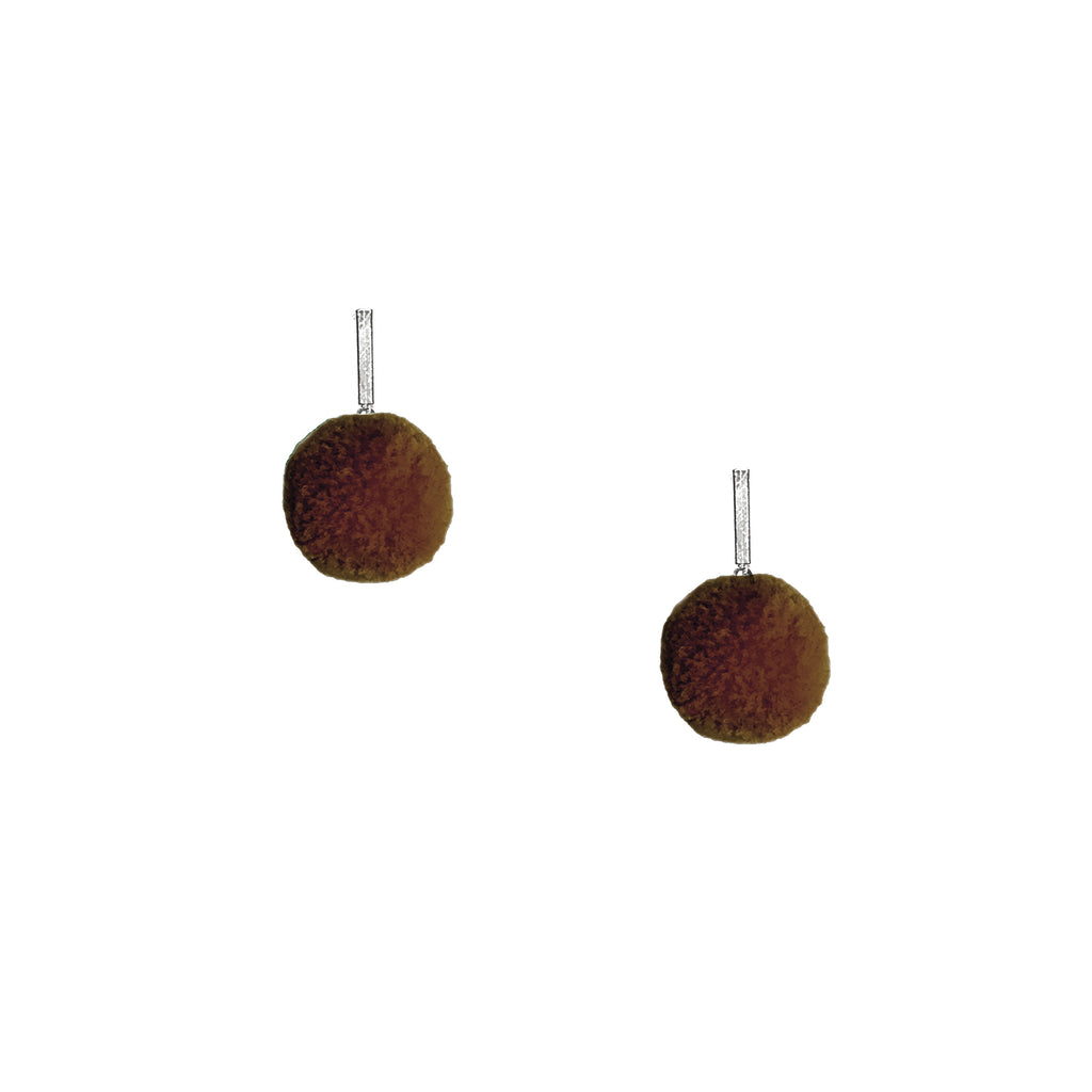 "Brown 3/8"" Velvet Pom Pom Stud Earring"