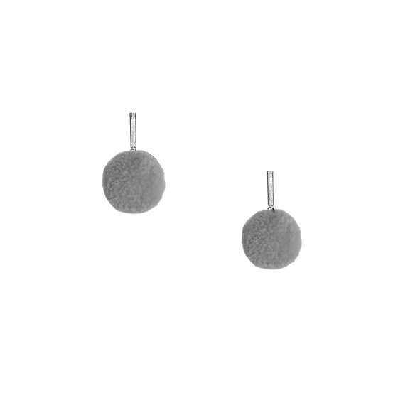 "Grey 3/8"" Velvet Pom Pom Stud Earrings, earring, Tuleste, Tuleste"