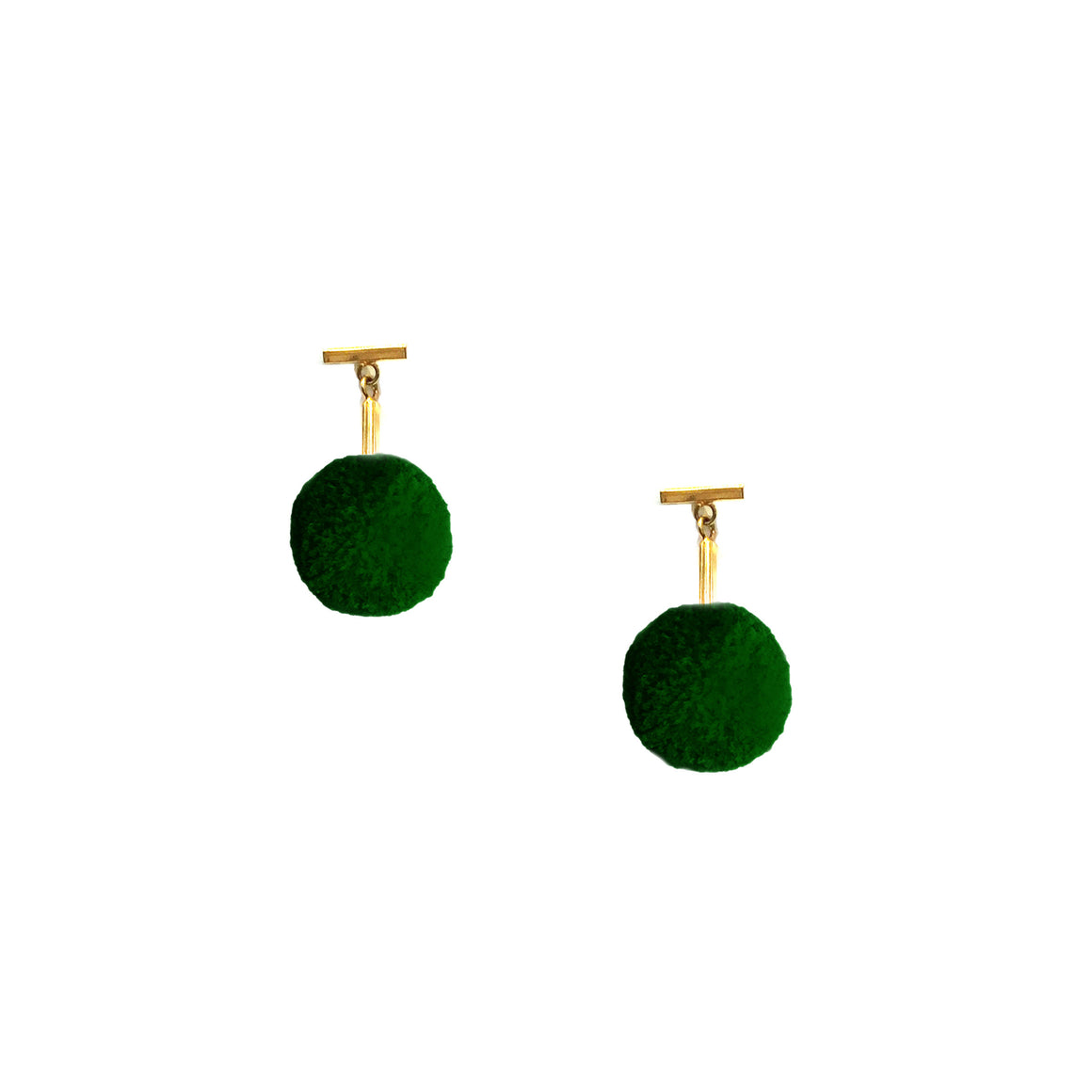 "Green 3/8"" Velvet Pom Pom T Stud Earrings, Earrings, Tuleste, Tuleste"