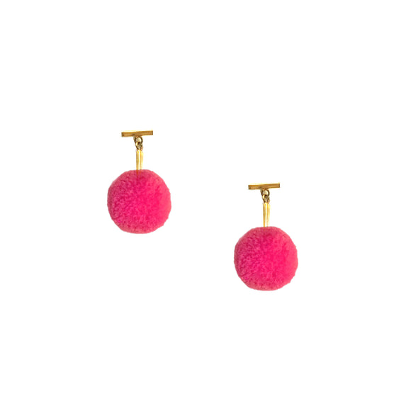 "Hot Pink 3/8"" Velvet Pom Pom T Stud Earrings, earring, Tuleste, Tuleste"