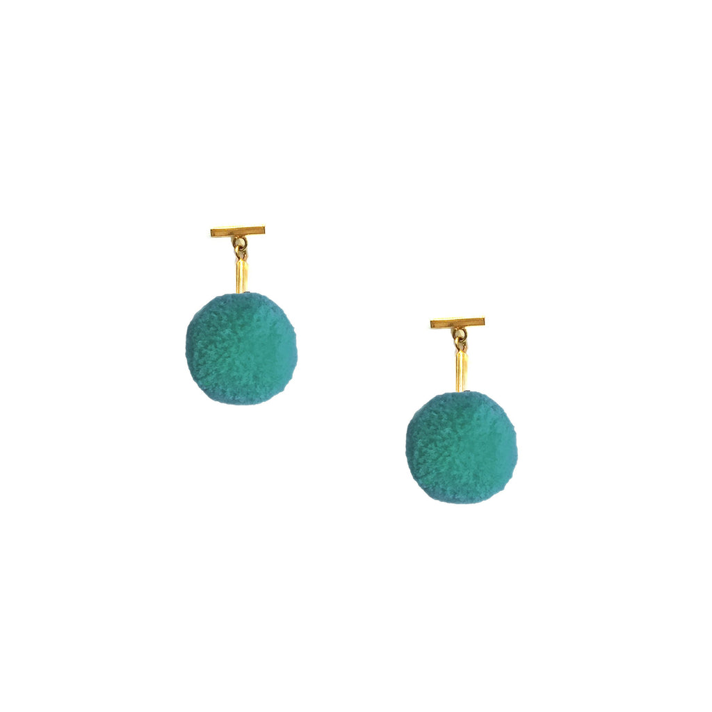 "Turquoise 3/8"" Velvet Pom Pom T Stud Earrings"