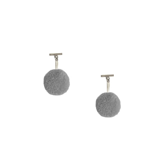 "Grey 3/8"" Velvet Pom Pom T Stud Earrings, earring, Tuleste, Tuleste"