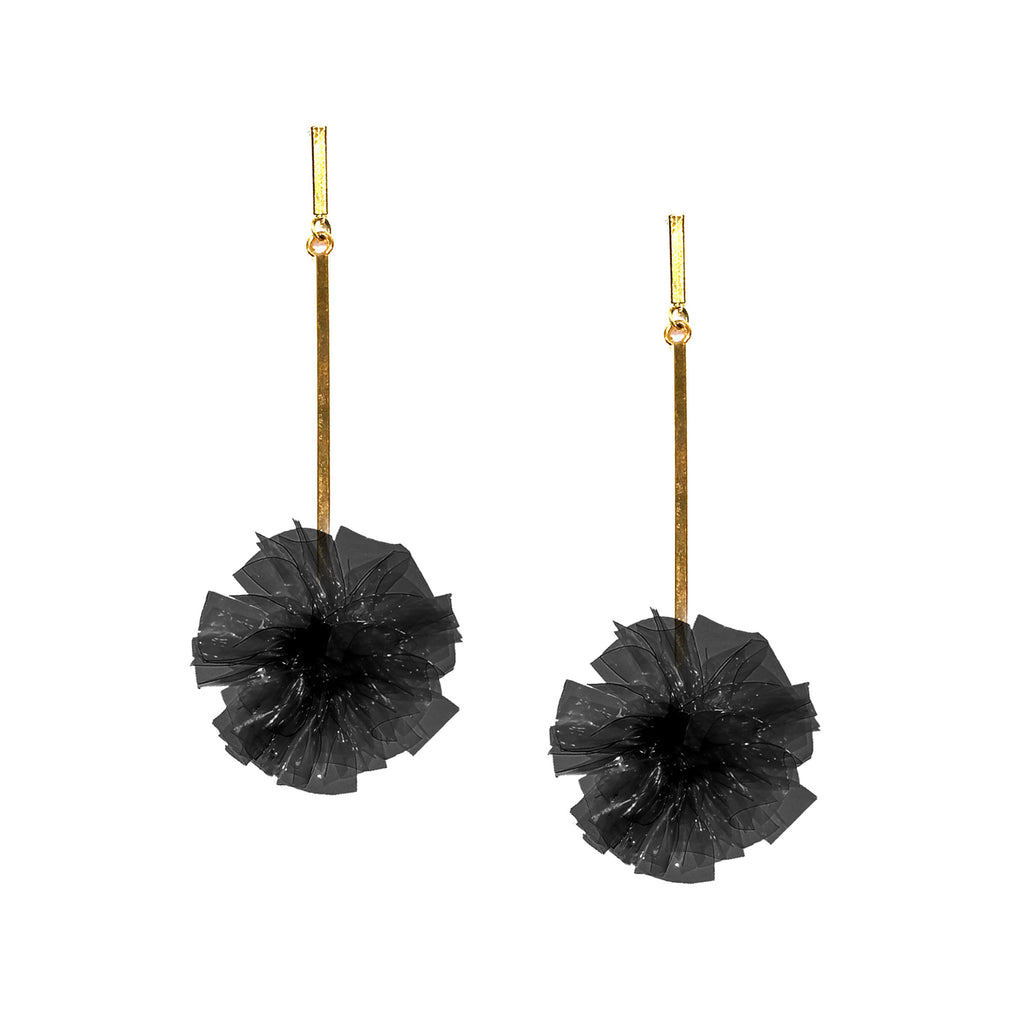 "Black 1"" Vinyl Pom Pom Earrings, earring, Tuleste, Tuleste"