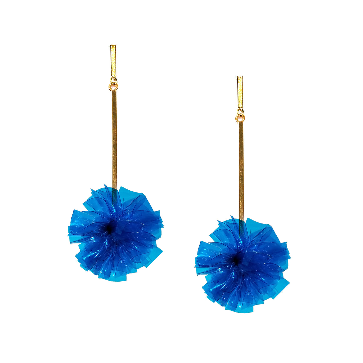 "Blue 1"" Vinyl Pom Pom Earrings, Earrings, Tuleste, Tuleste"