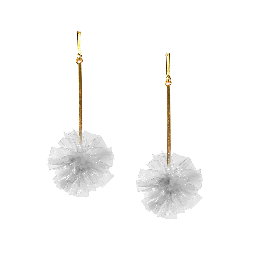 "Clear 1"" Vinyl Pom Pom Earrings, Earring, Tuleste, Tuleste"