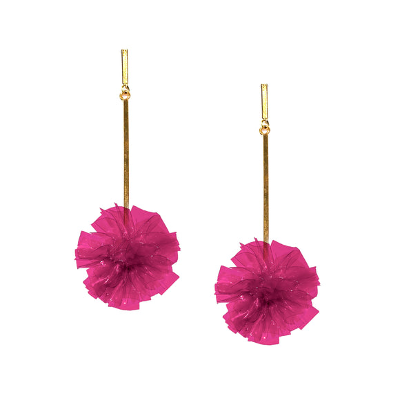 "Fuchsia 1"" Vinyl Pom Pom Earrings, earring, Tuleste, Tuleste"