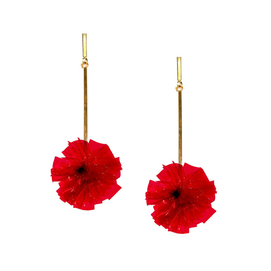 "Red 1"" Vinyl Pom Pom Earrings, Earrings, Tuleste, Tuleste"