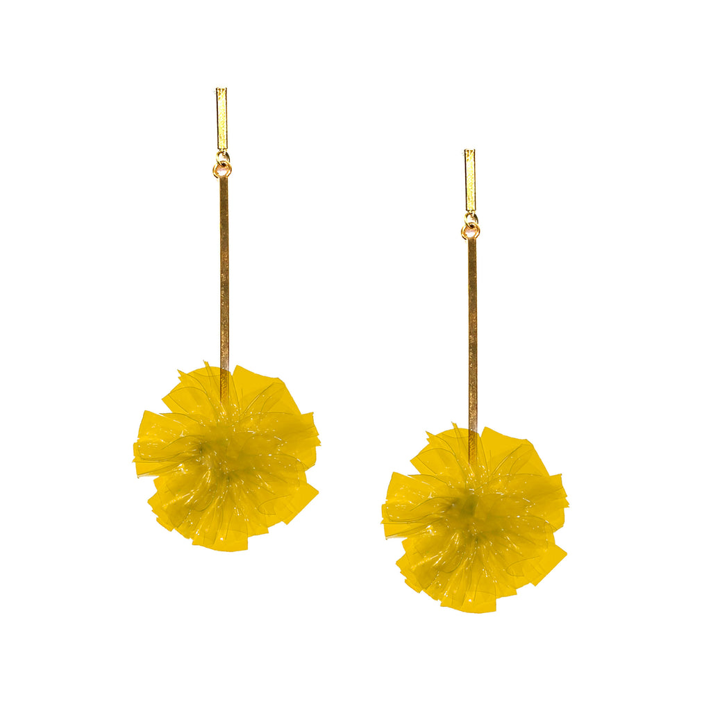 "Yellow 1"" Vinyl Pom Pom Earrings, earring, Tuleste, Tuleste"