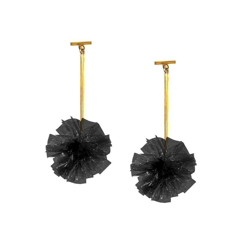 "Black 1"" Vinyl Pom Pom T Bar Earrings, Earrings, Tuleste, Tuleste"