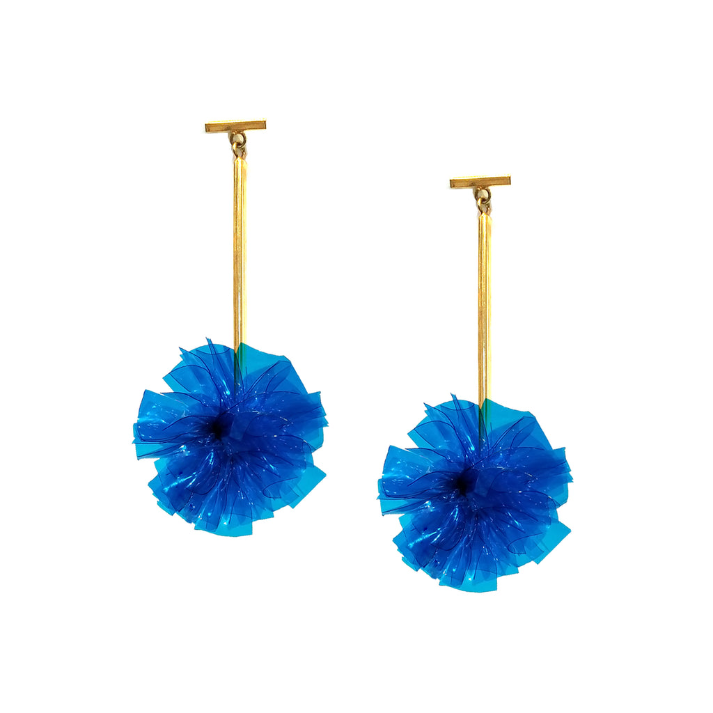 "Blue 1"" Vinyl Pom Pom T Bar Earrings, Earrings, Tuleste, Tuleste"