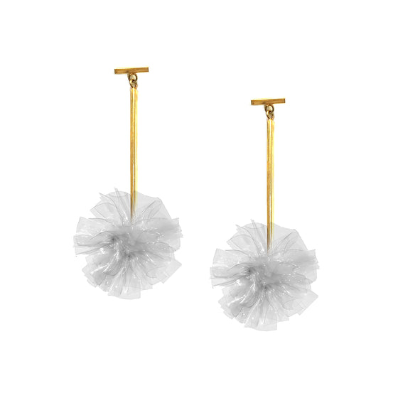 "Clear 1"" Vinyl Pom Pom T Bar Earrings, Earring, Tuleste, Tuleste"