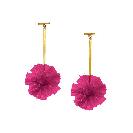 "Fuchsia 1"" Vinyl Pom Pom T Bar Earrings, earring, Tuleste, Tuleste"