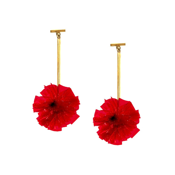 "Red 1"" Vinyl Pom Pom T Bar Earrings, Earrings, Tuleste, Tuleste"