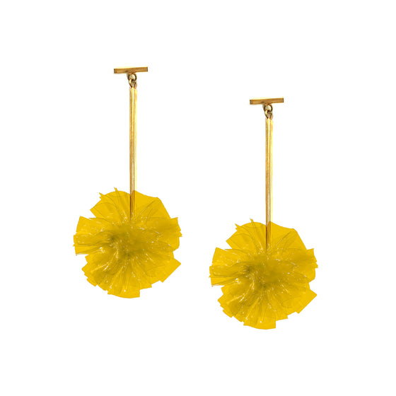 "Yellow 1"" Vinyl Pom Pom T Bar Earrings, earring, Tuleste, Tuleste"
