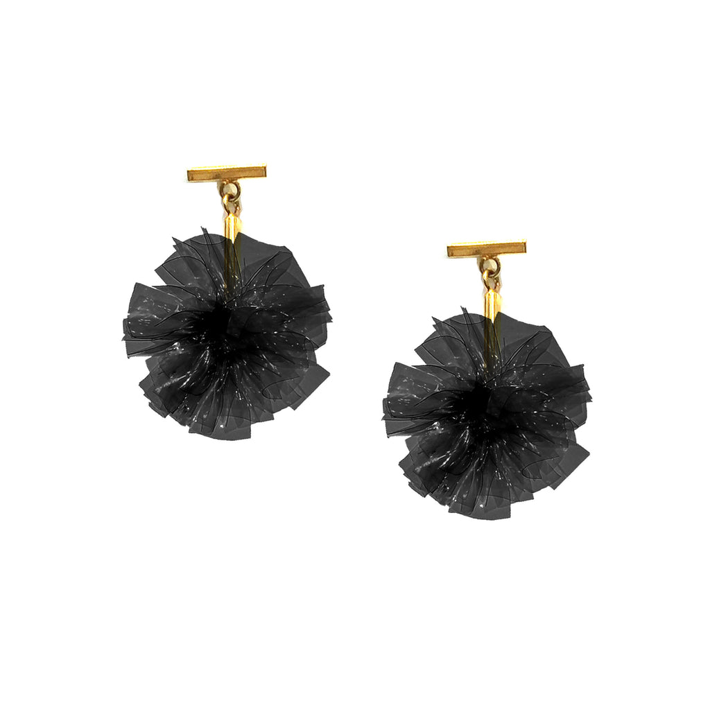 "Black 1"" Vinyl Pom Pom T Stud Earrings, earring, Tuleste, Tuleste"