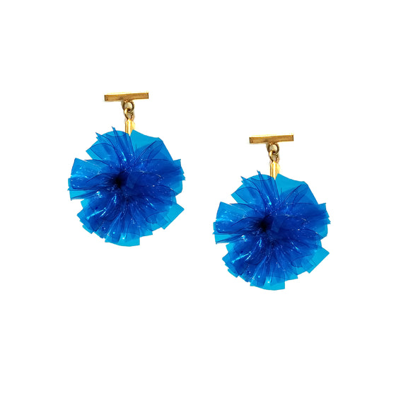 "Blue 1"" Vinyl Pom Pom T Stud Earrings, Earrings, Tuleste, Tuleste"