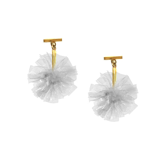 "Clear 1"" Vinyl Pom Pom T Stud Earrings, Earring, Tuleste, Tuleste"