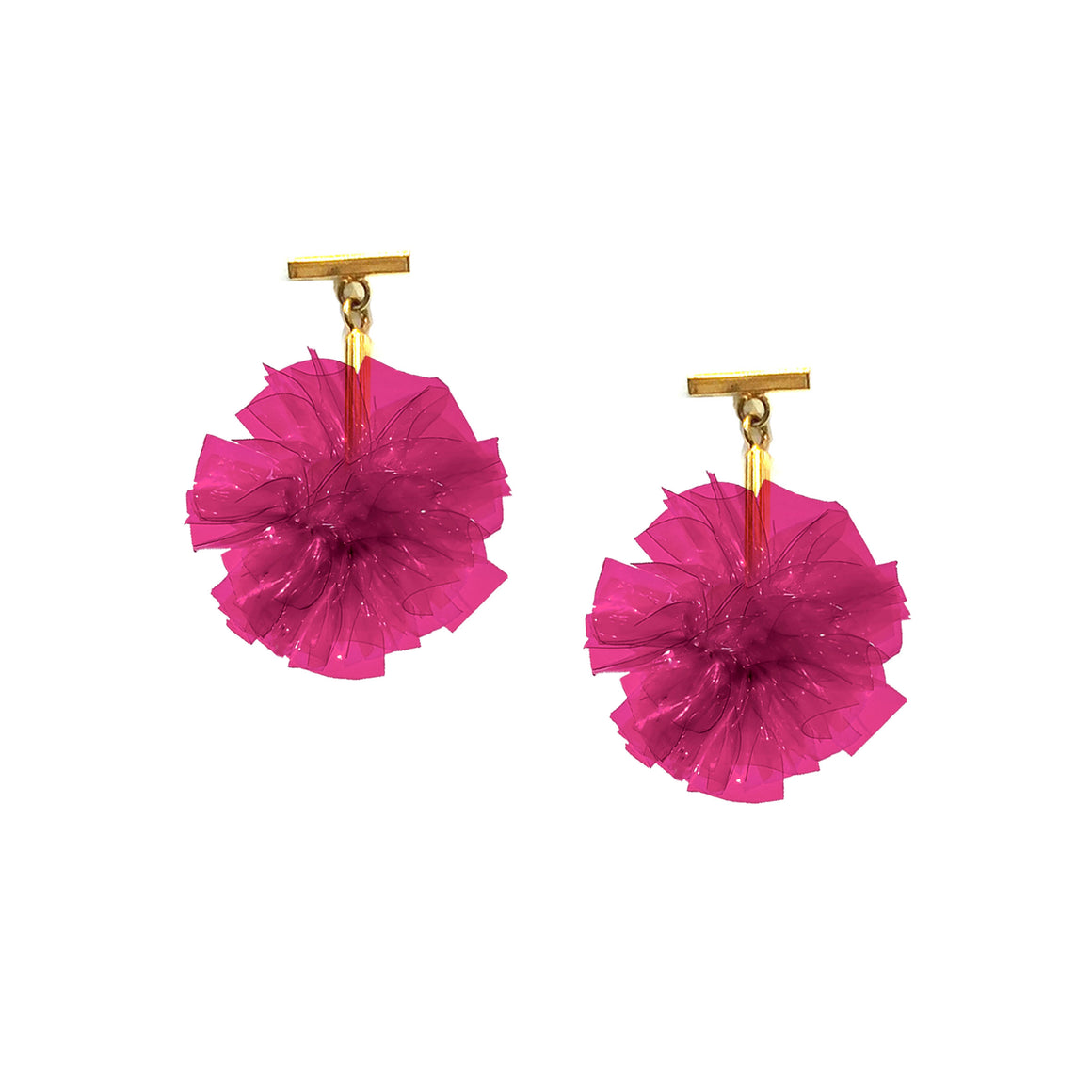 "Fuchsia 1"" Vinyl Pom Pom T Stud Earrings, earring, Tuleste, Tuleste"