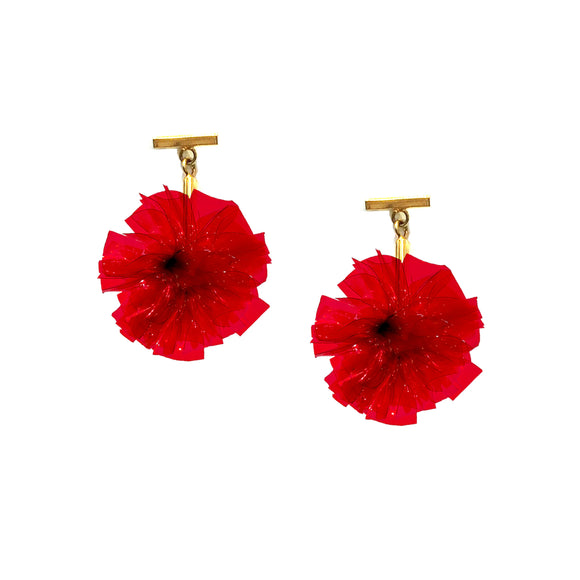 "Red 1"" Vinyl Pom Pom T Stud Earrings, Earrings, Tuleste, Tuleste"