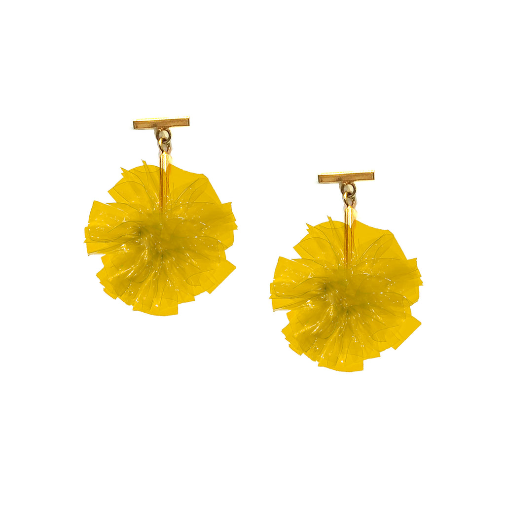 "Yellow 1"" Vinyl Pom Pom T Stud Earrings"