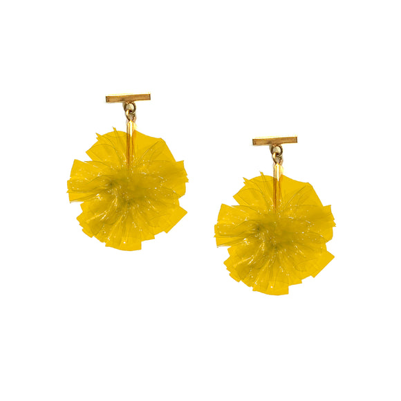 "Yellow 1"" Vinyl Pom Pom T Stud Earrings, earring, Tuleste, Tuleste"